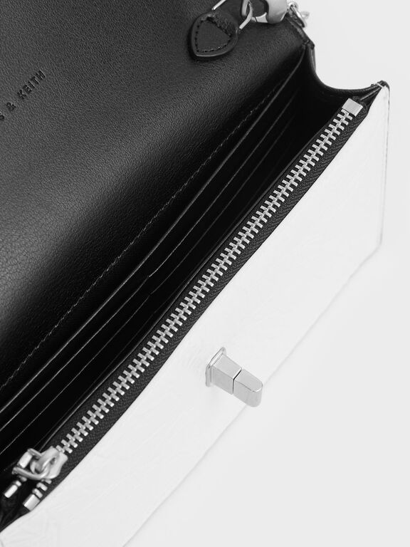 Two-Tone Wrinkled Effect Long Envelope Wallet, White