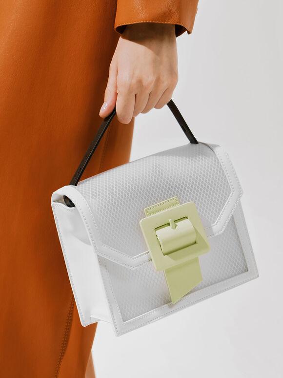 扣環果凍手提包, 白色, hi-res