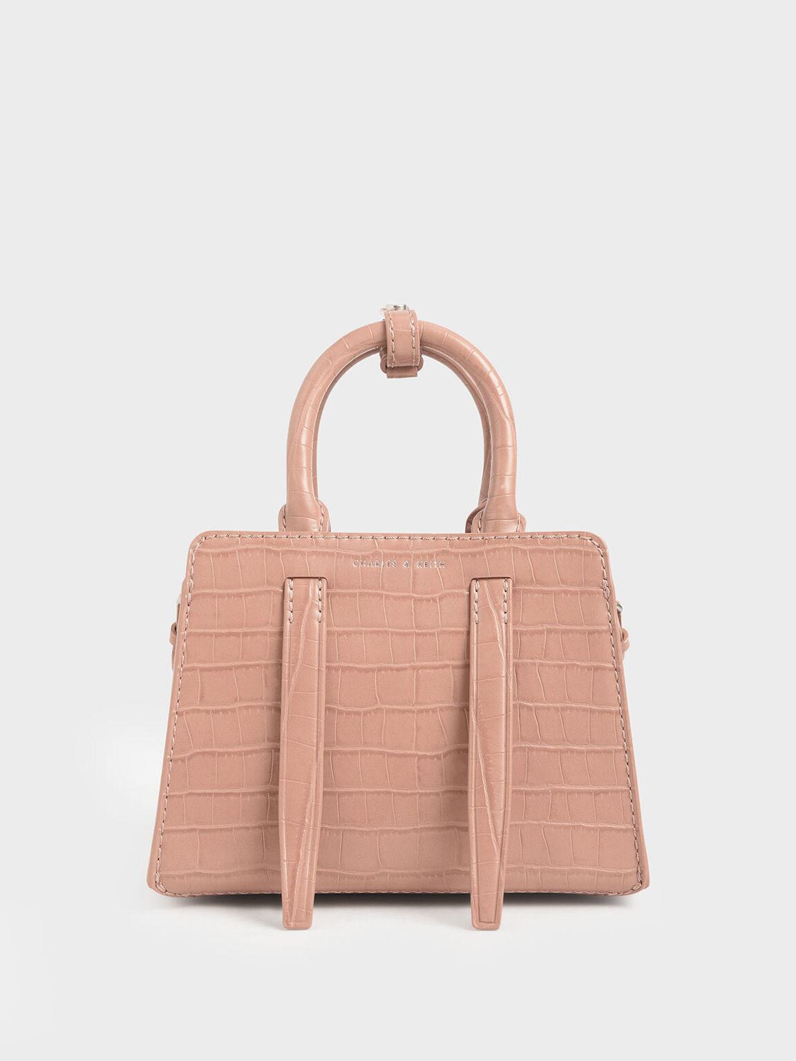 Croc-Effect Top Handle Bag, Blush, hi-res