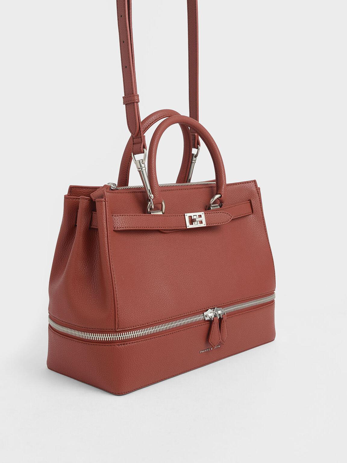 Large Two-Way Zip Tote Bag, Cognac, hi-res