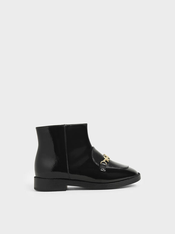 Girl's Wrinkled Patent Charm Ankle Boots, Black, hi-res