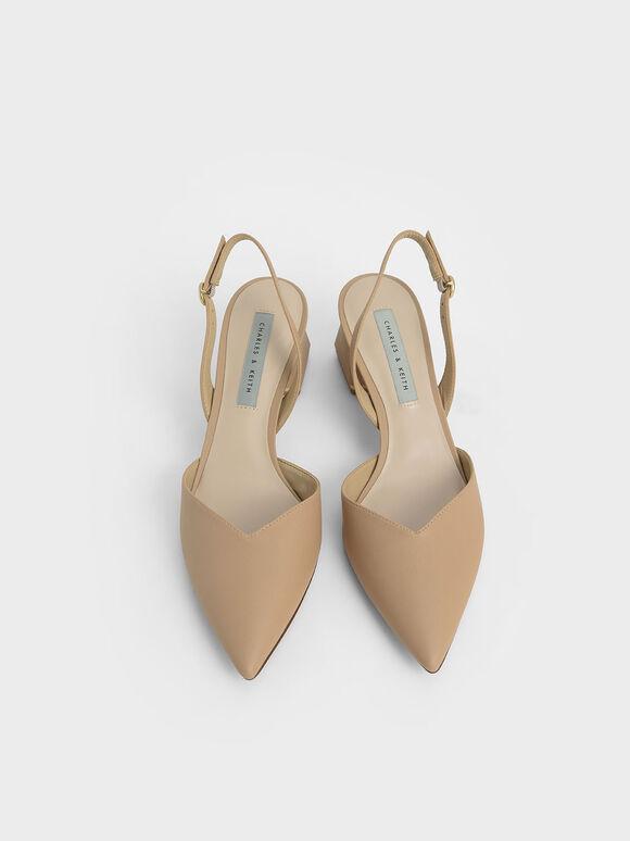 V字後踝帶跟鞋, 沙黃色, hi-res