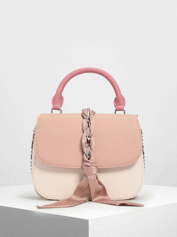 Braided Front Flap Bag, Light Pink, hi-res
