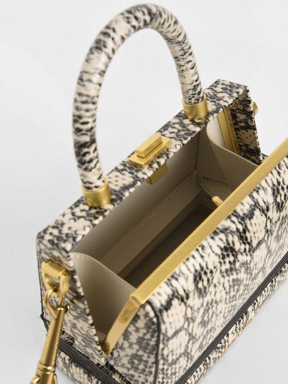 Snake Print Accordion Bag, Cream, hi-res