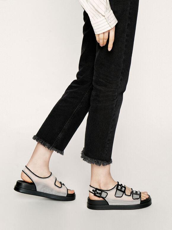 Mesh Flatform Sandals, White, hi-res