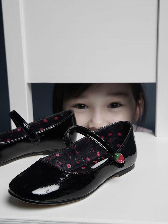 Girls' Strawberry Wrinkled Patent Mary Jane Flats, Black, hi-res