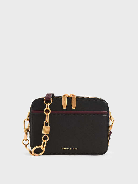 Double Zip Crossbody Bag, Black, hi-res