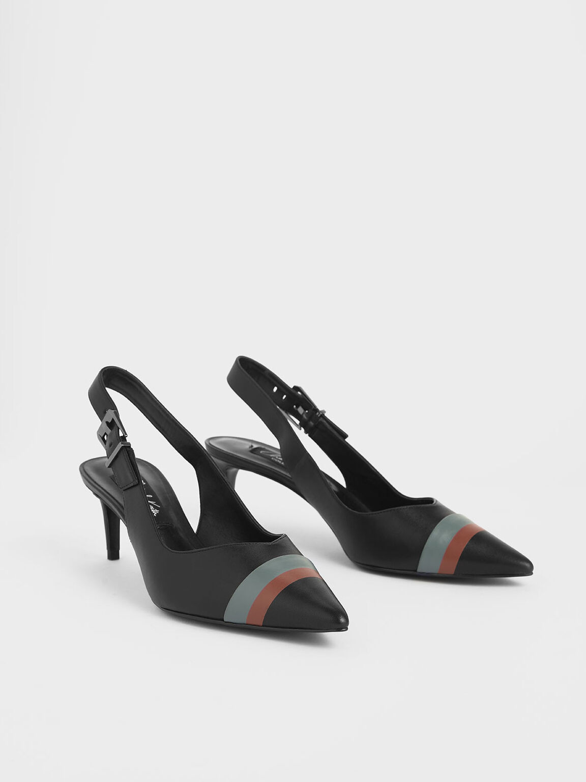 Striped Leather Slingback Heels, Black, hi-res