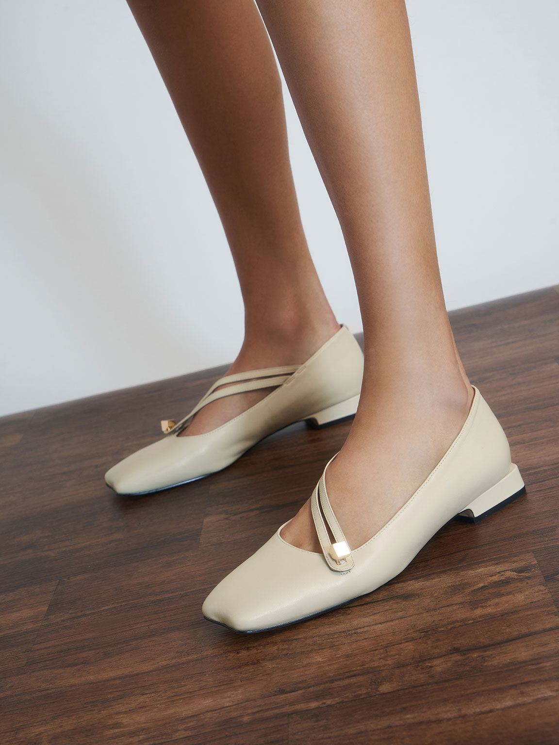 Leather Asymmetric Strap Ballerina Flats, Chalk, hi-res