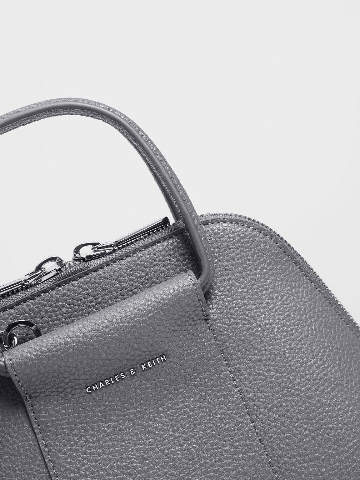 Mini Ring Handle Dome Bag, Grey, hi-res