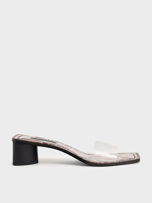 Snake Print Clear Strap Mules, Animal Print Natural, hi-res