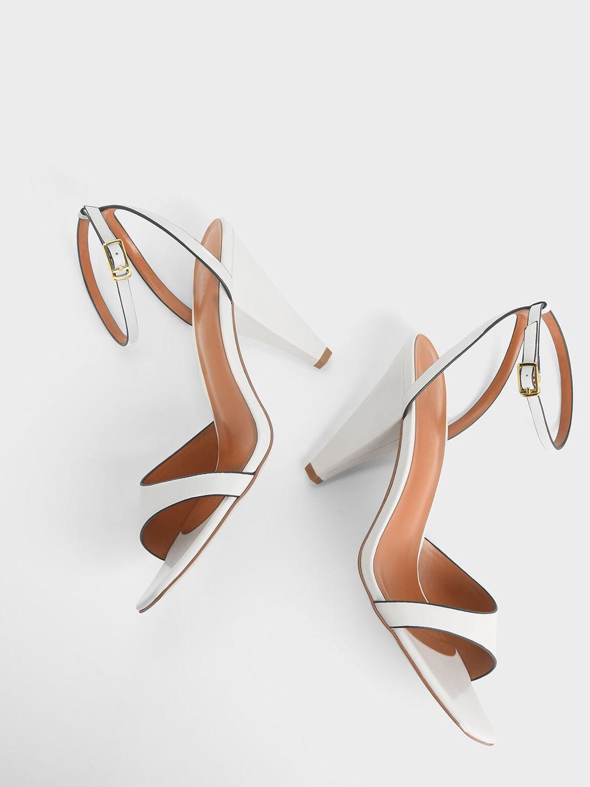Asymmetric Strap Cone Heel Sandals, White, hi-res