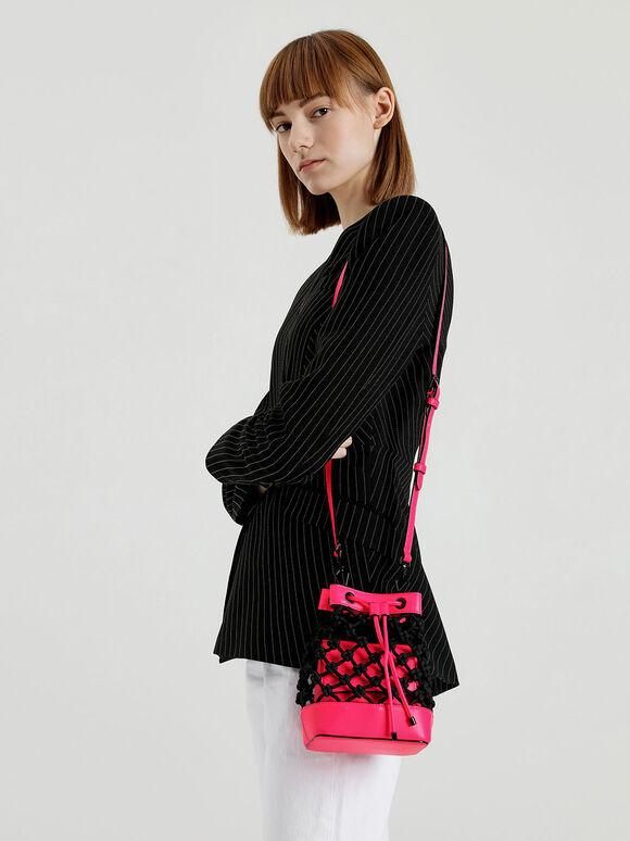 Knotted Drawstring Bucket Bag, Multi, hi-res