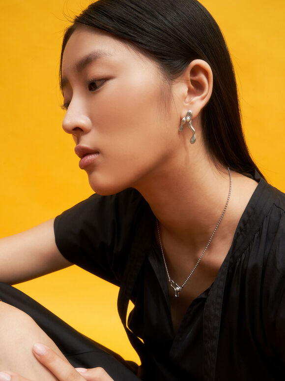 Sculpted Mismatch Earrings, Silver, hi-res