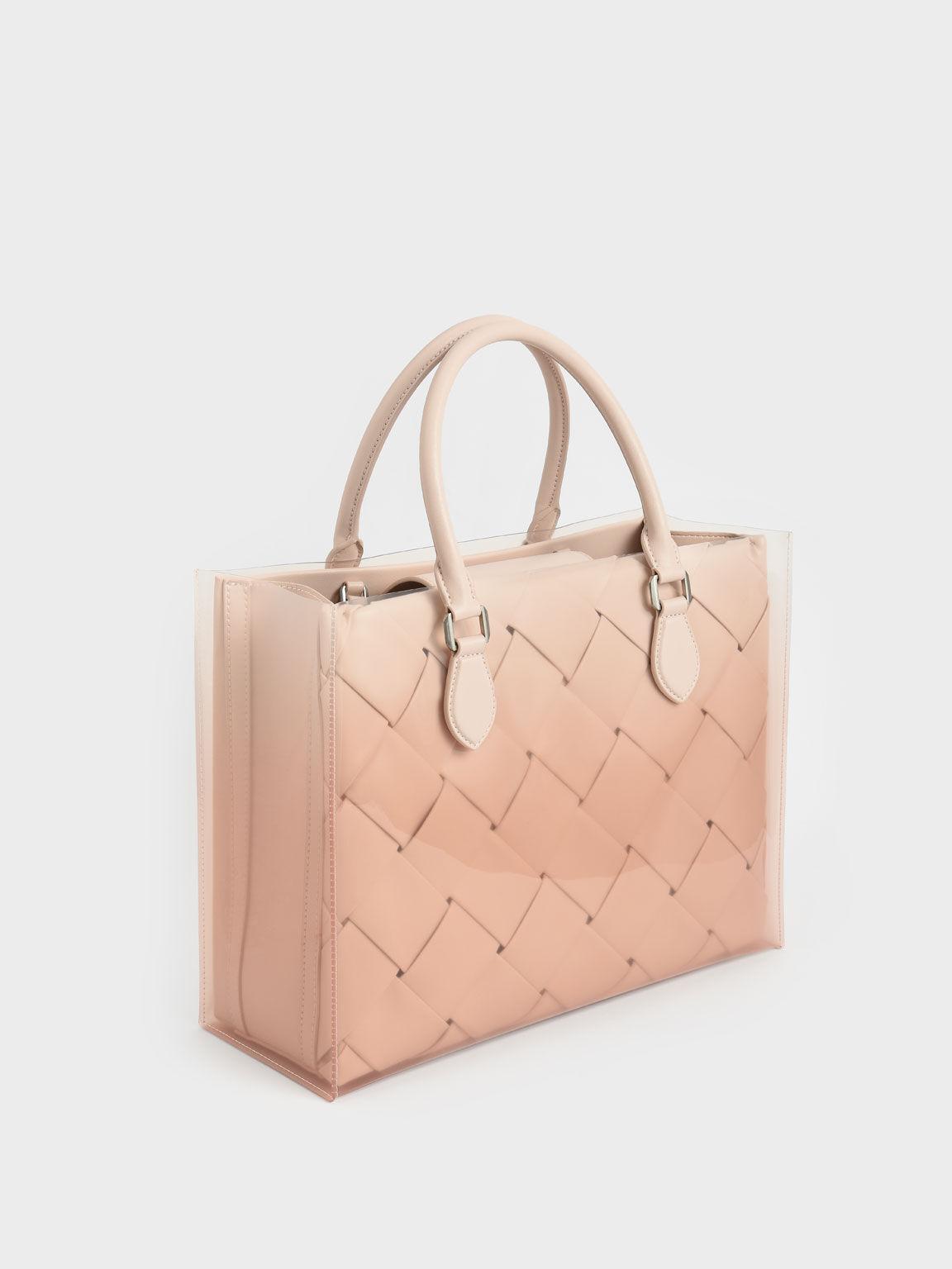 編織手提包, 淺粉色, hi-res