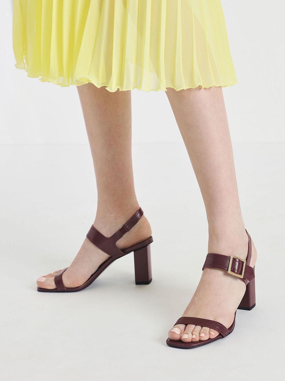 Buckle Detail Block Heel Sandals, Burgundy, hi-res