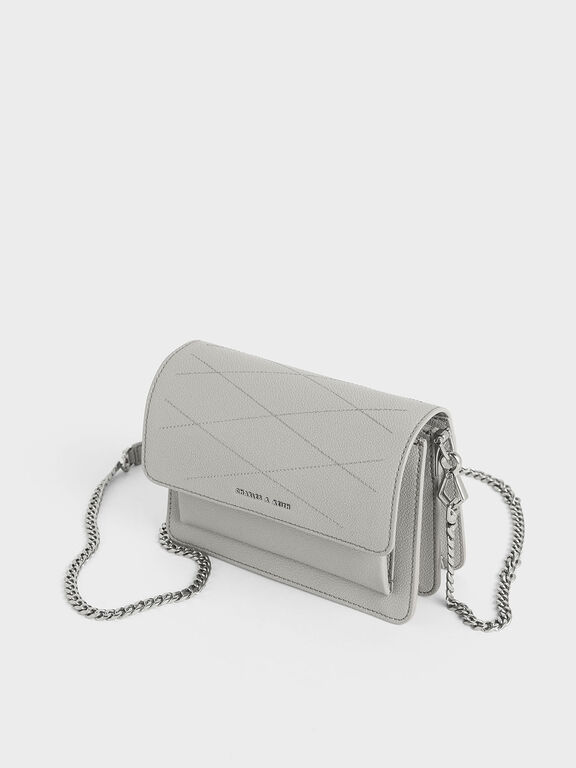 Top Stitch Detail Crossbody Bag, Grey, hi-res
