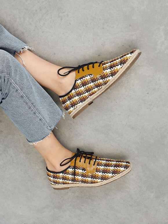 Raffia Derby Shoes, Brown, hi-res