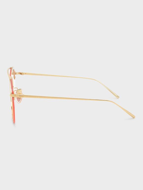 Angular Metal Frame Aviators, Pink, hi-res