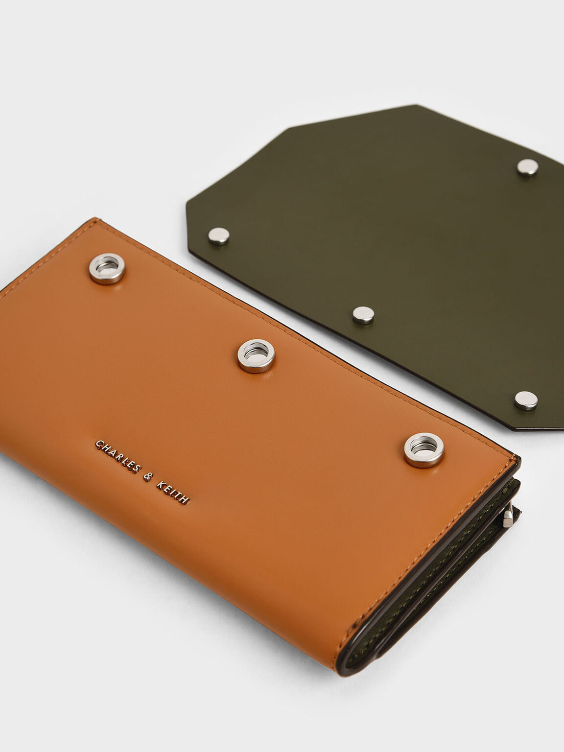 Reversible Front Flap Mini Long Wallet, Tan, hi-res