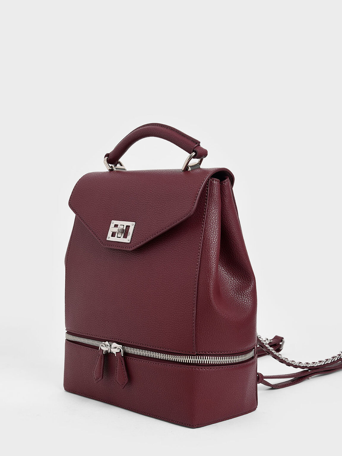 Large Two-Way Zip Backpack, Burgundy, hi-res