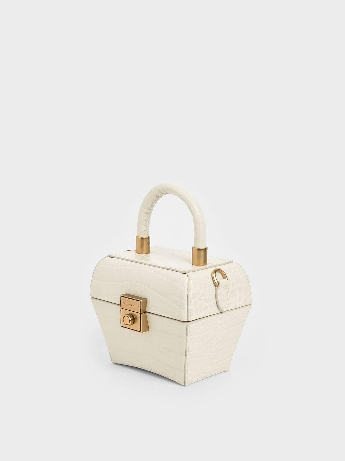 Croc-Effect Mini Sculptural Bag, Cream, hi-res