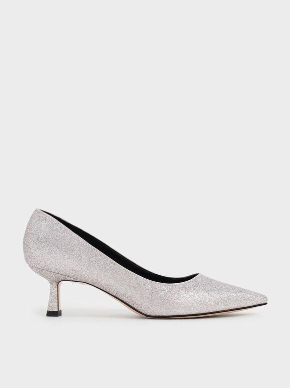 Glitter Kitten Heel Pumps, Silver, hi-res