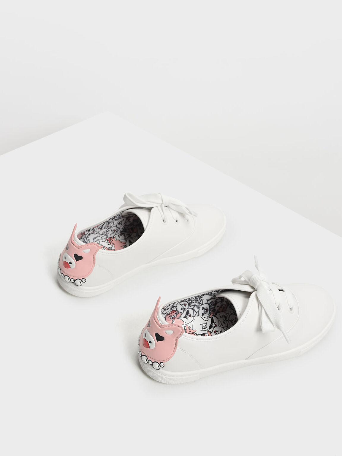 Zodiac Pig Sneakers, White, hi-res