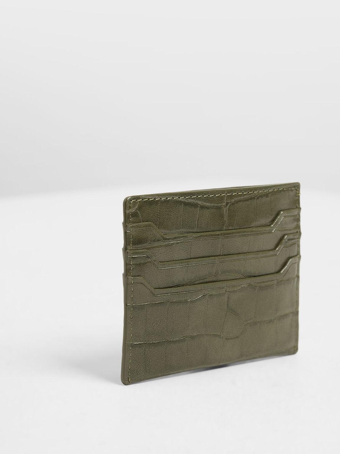 Croc-Effect Card Holder, Olive, hi-res