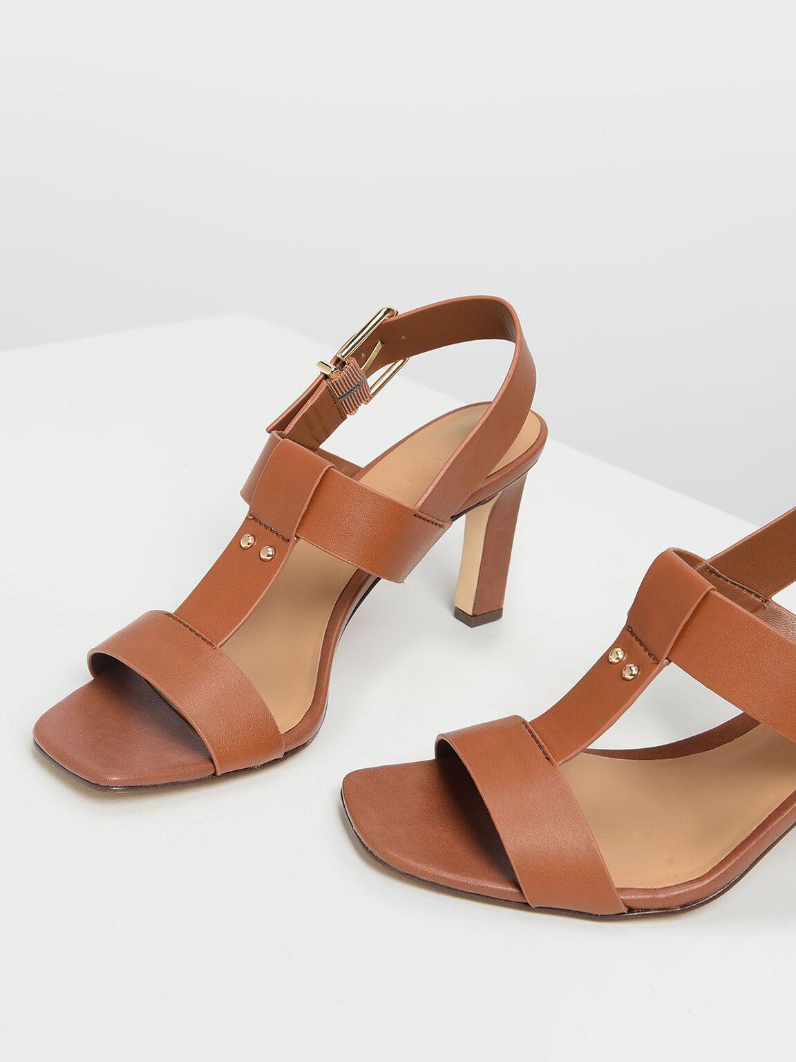 T-Bar Slingback Heels, Brown, hi-res