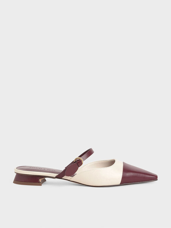 Mary Jane Strap Flat Mules, Maroon, hi-res