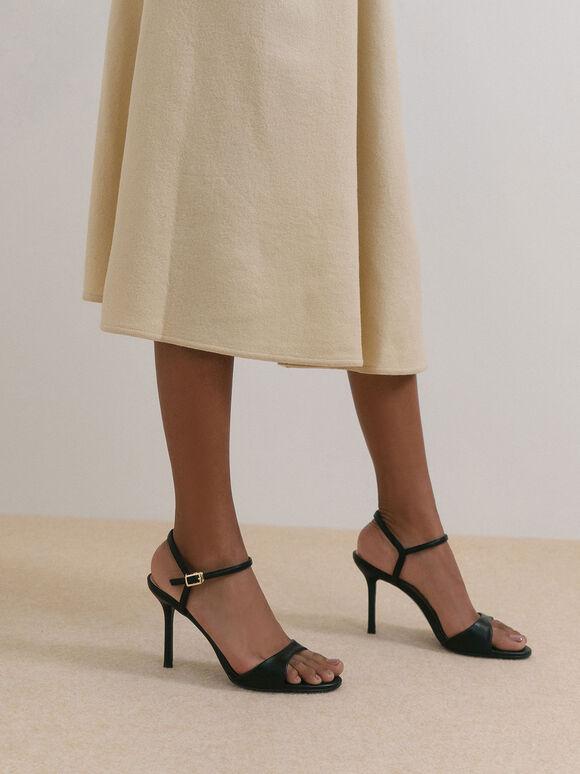 Ankle Strap Stiletto Sandals, Black, hi-res