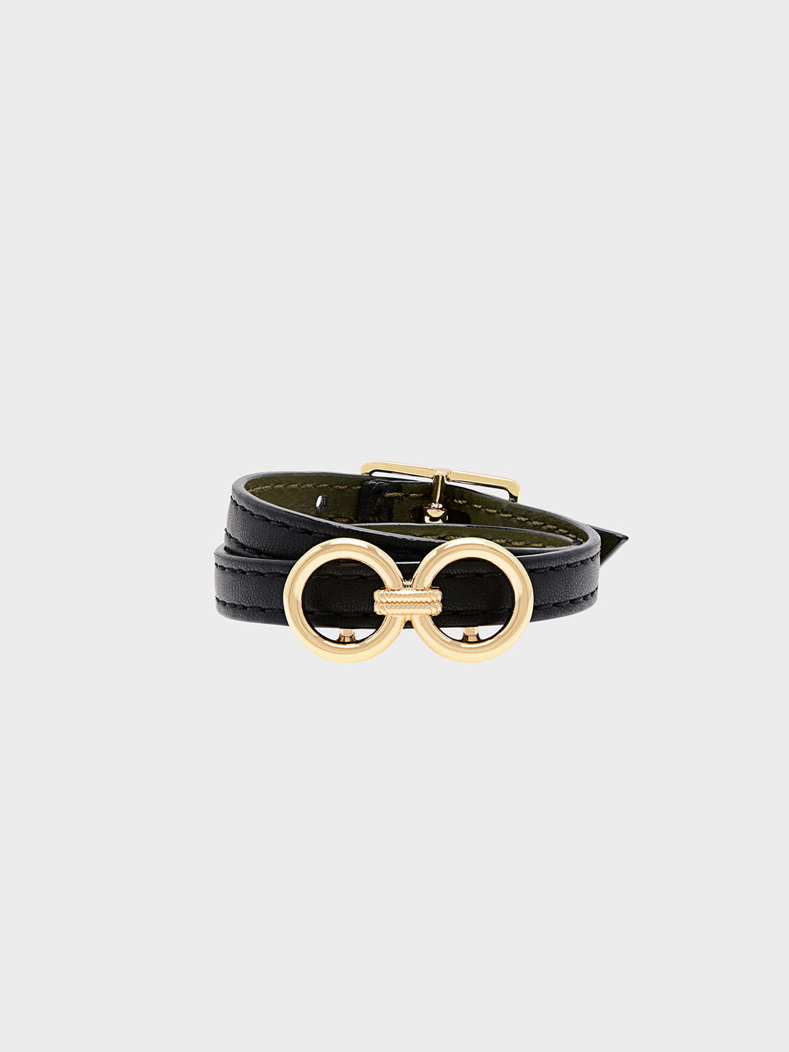 Double Wrap Around Belt Bracelet, Black, hi-res