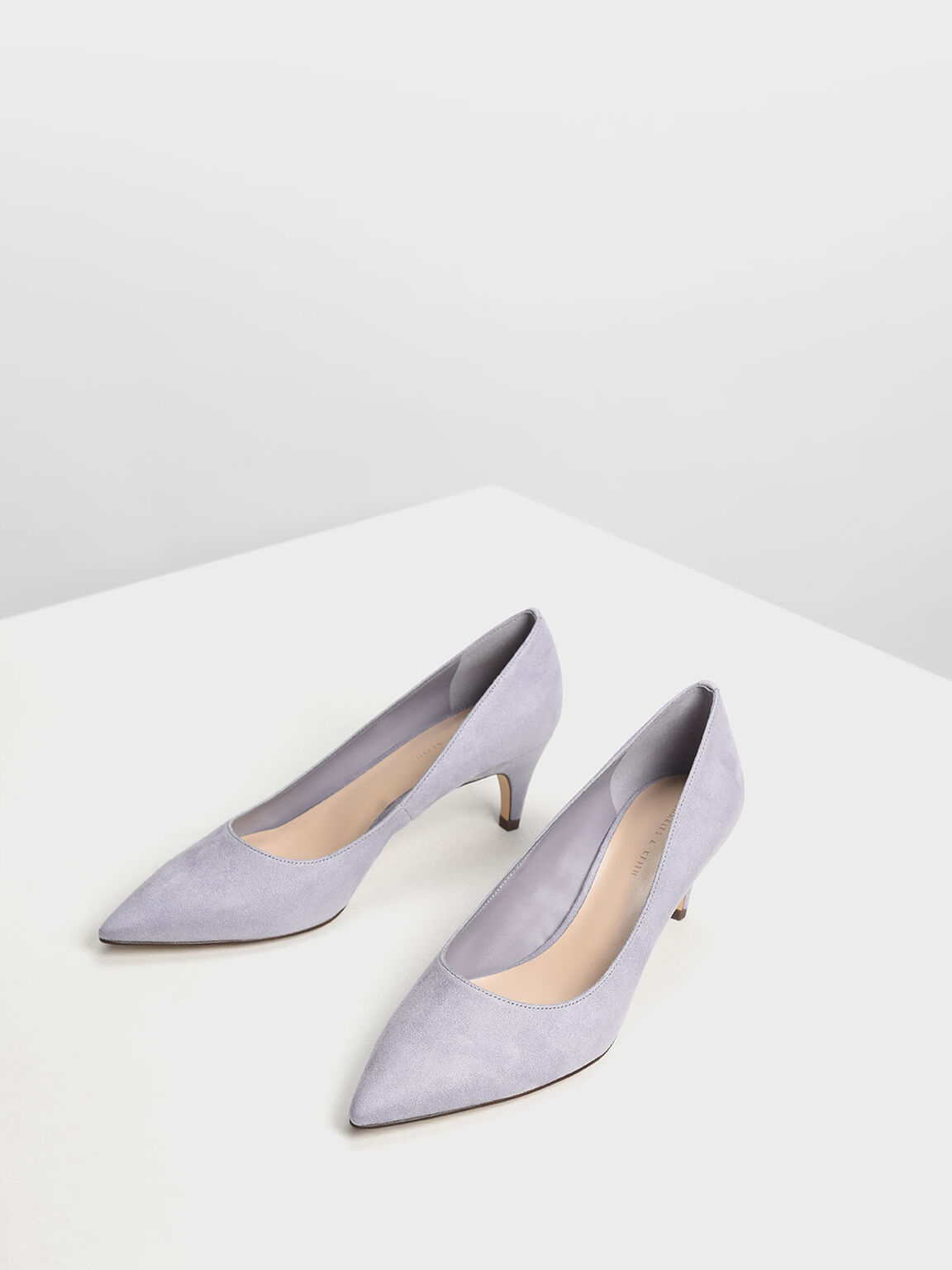 Classic Kitten Heel Pumps, Light Grey, hi-res