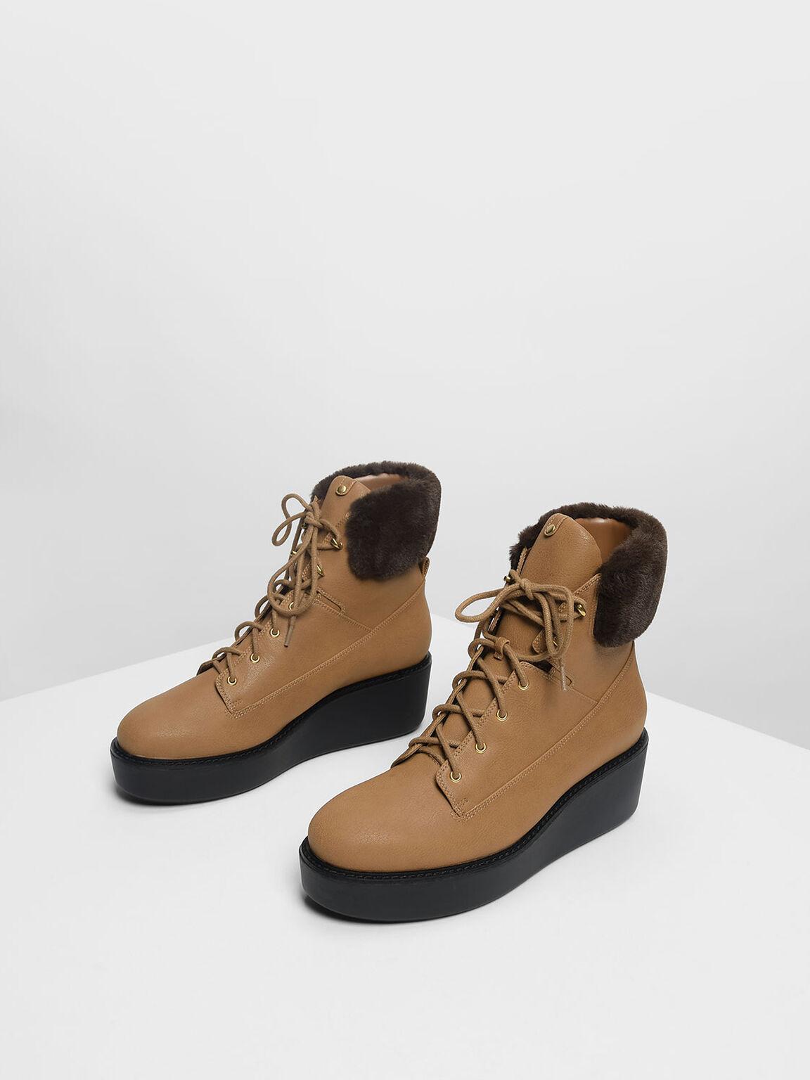 Furry Cuff Platform Ankle Boots, Cognac, hi-res