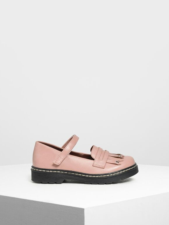Kids' Fringe Loafers, Blush, hi-res