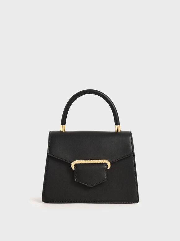 Leather Metallic Accent Handbag, Black, hi-res