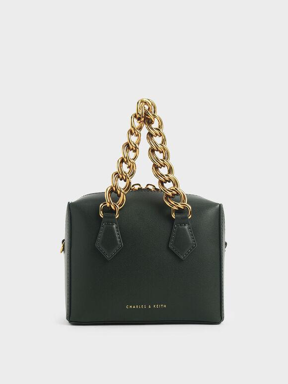 Square Chunky Chain Handle Crossbody Bag, Green, hi-res