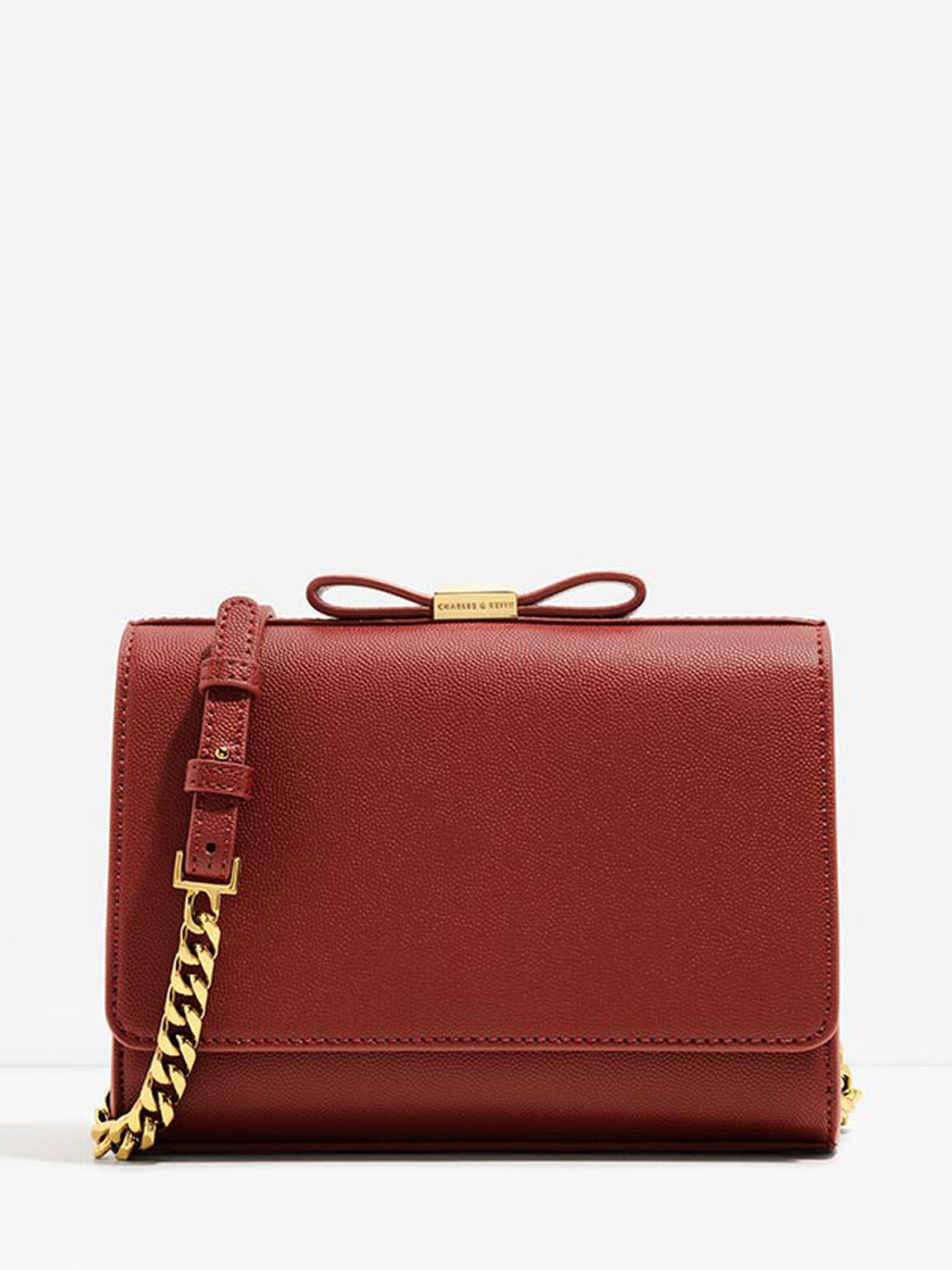 Bow Detail Clutch, Red, hi-res