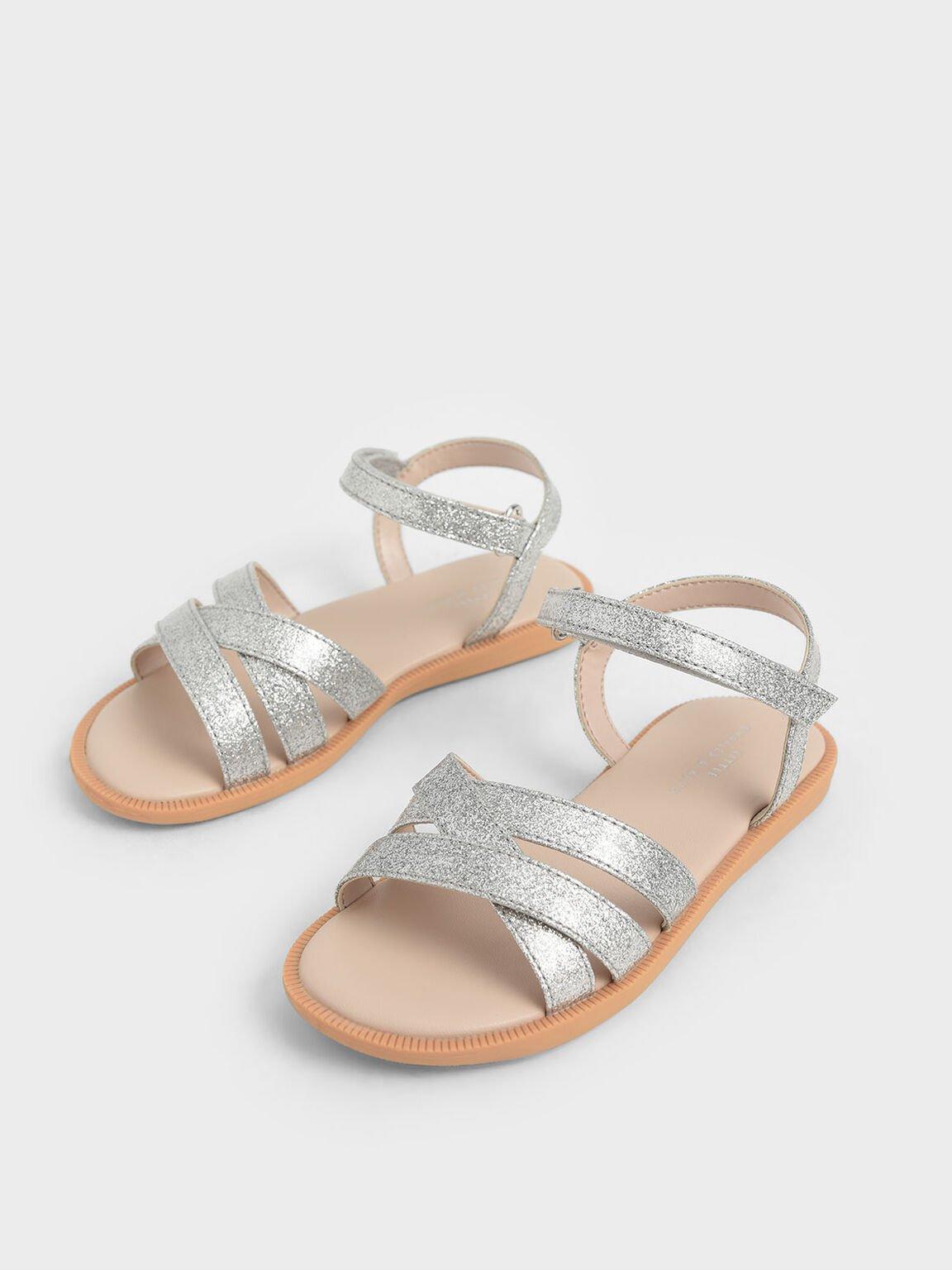 Girls' Glitter Strappy Sandals, Silver, hi-res