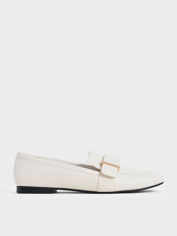 Metallic Accent Penny Loafers, Chalk, hi-res