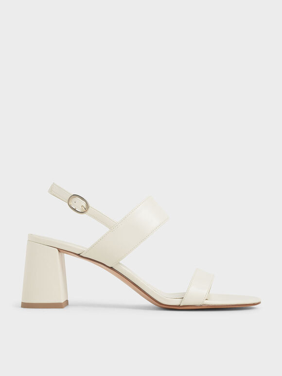 Slingback Heeled Sandals, Cream, hi-res
