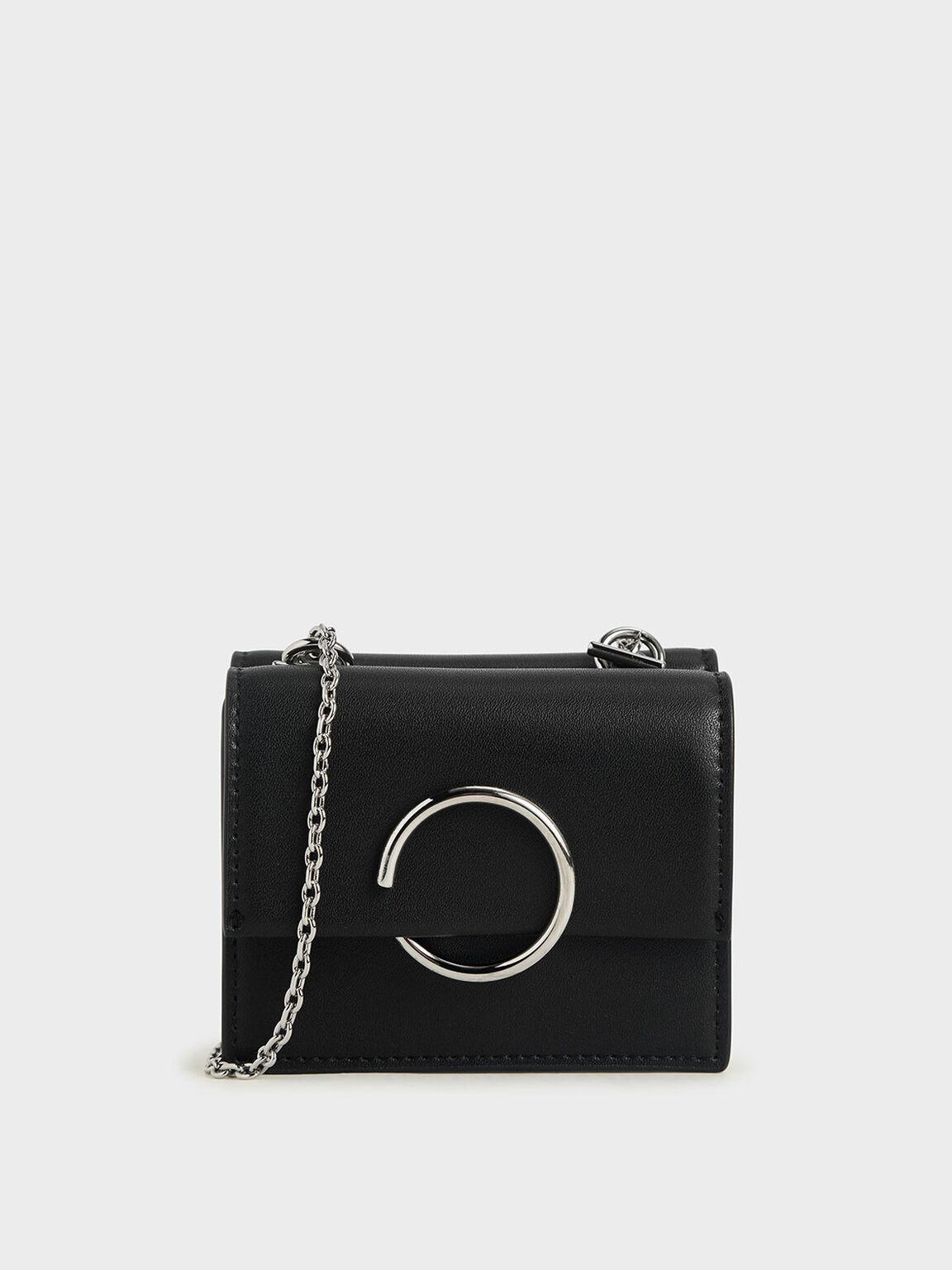 單色圓環短夾, 黑色, hi-res