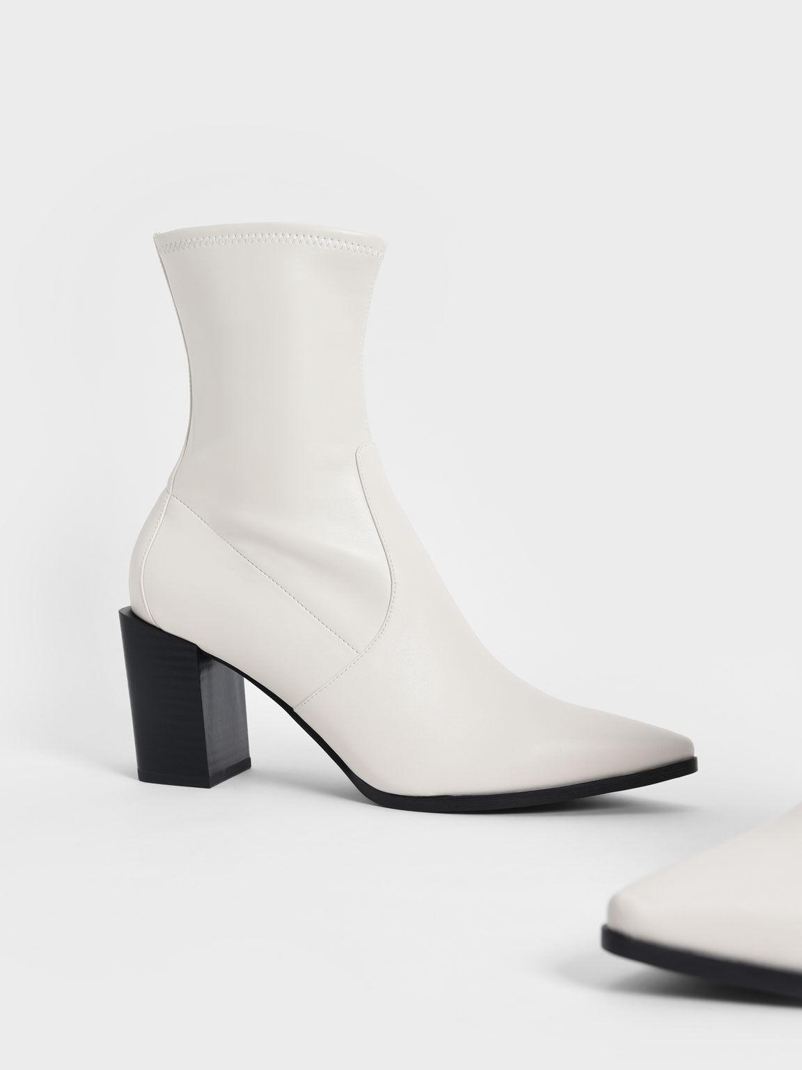Slanted Block Heel Ankle Boots, Chalk, hi-res