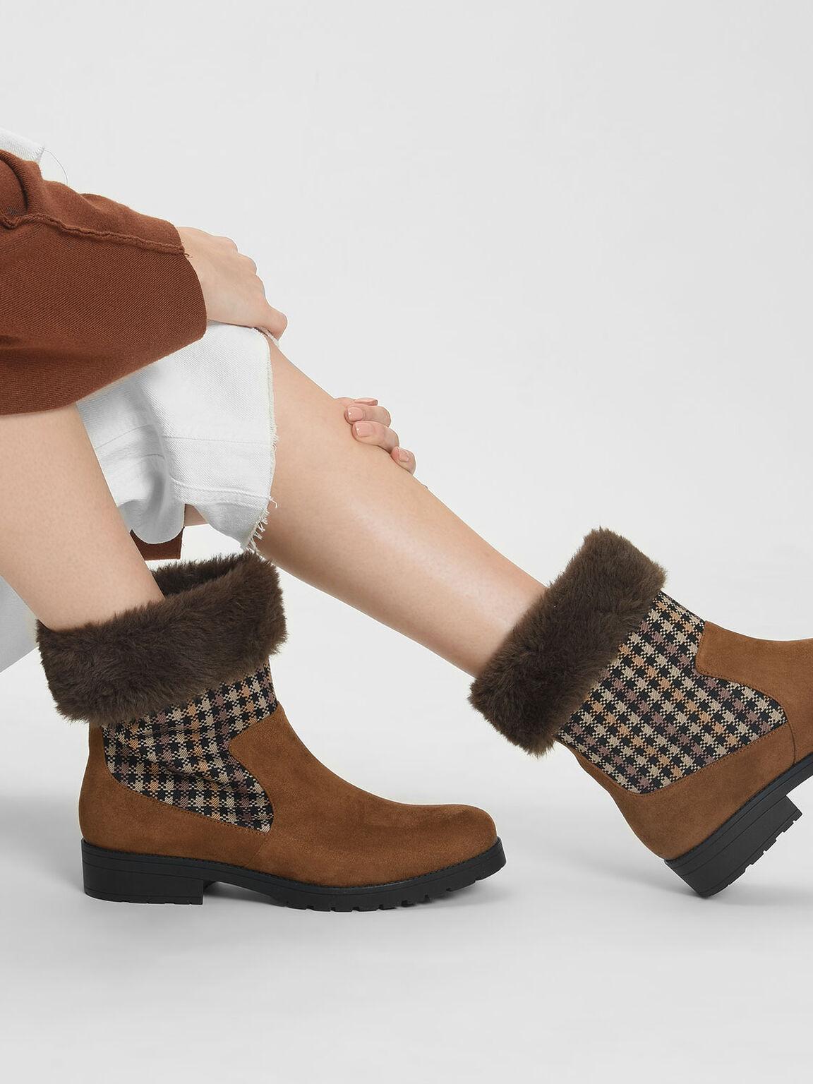 毛毛格紋短靴, 土黃色, hi-res