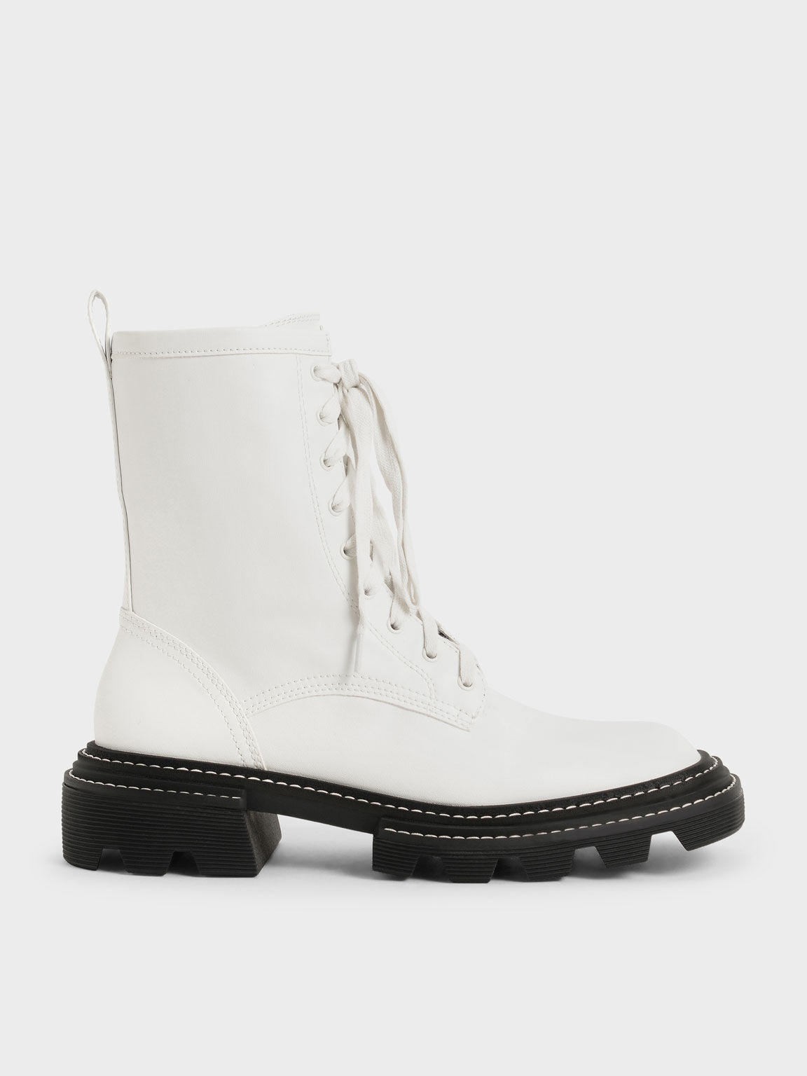 Lace-Up Chunky Ankle Boots, White, hi-res