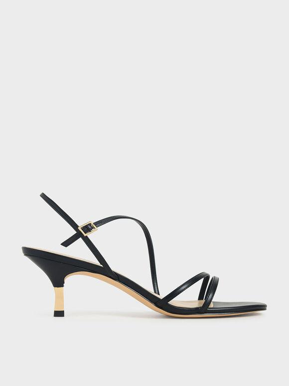 線條細跟涼鞋, 黑色, hi-res