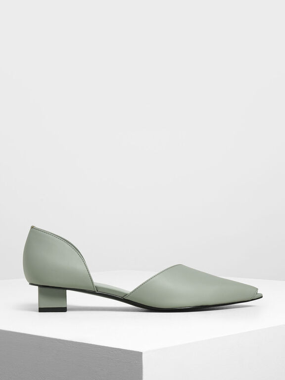 Asymmetrical Peep Toe Pumps, Sage Green