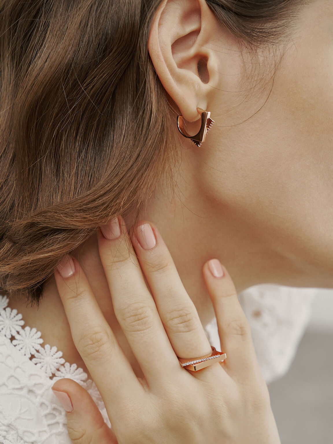 Swarovski® Crystal Sculptural Hoop Earrings, Rose Gold, hi-res