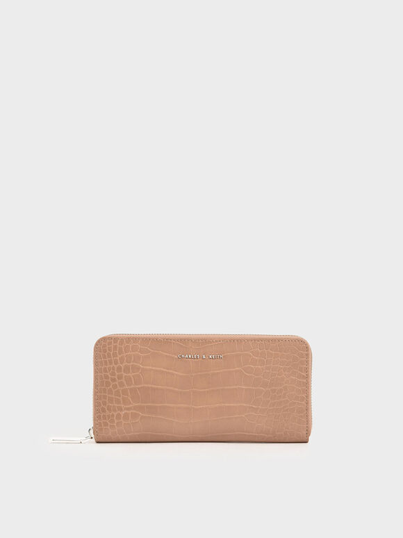 Croc-Effect Mini Long Wallet, Blush, hi-res